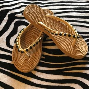 Shoes - Beagle thong sandals with black rhinestones
